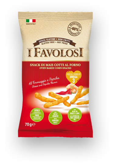 I FAVOLOSI - cheese and paprika corn sticks 70gr