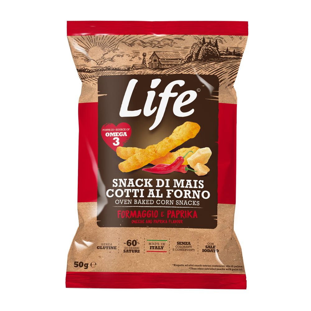 LIFE - cheese and paprika corn sticks 50gr