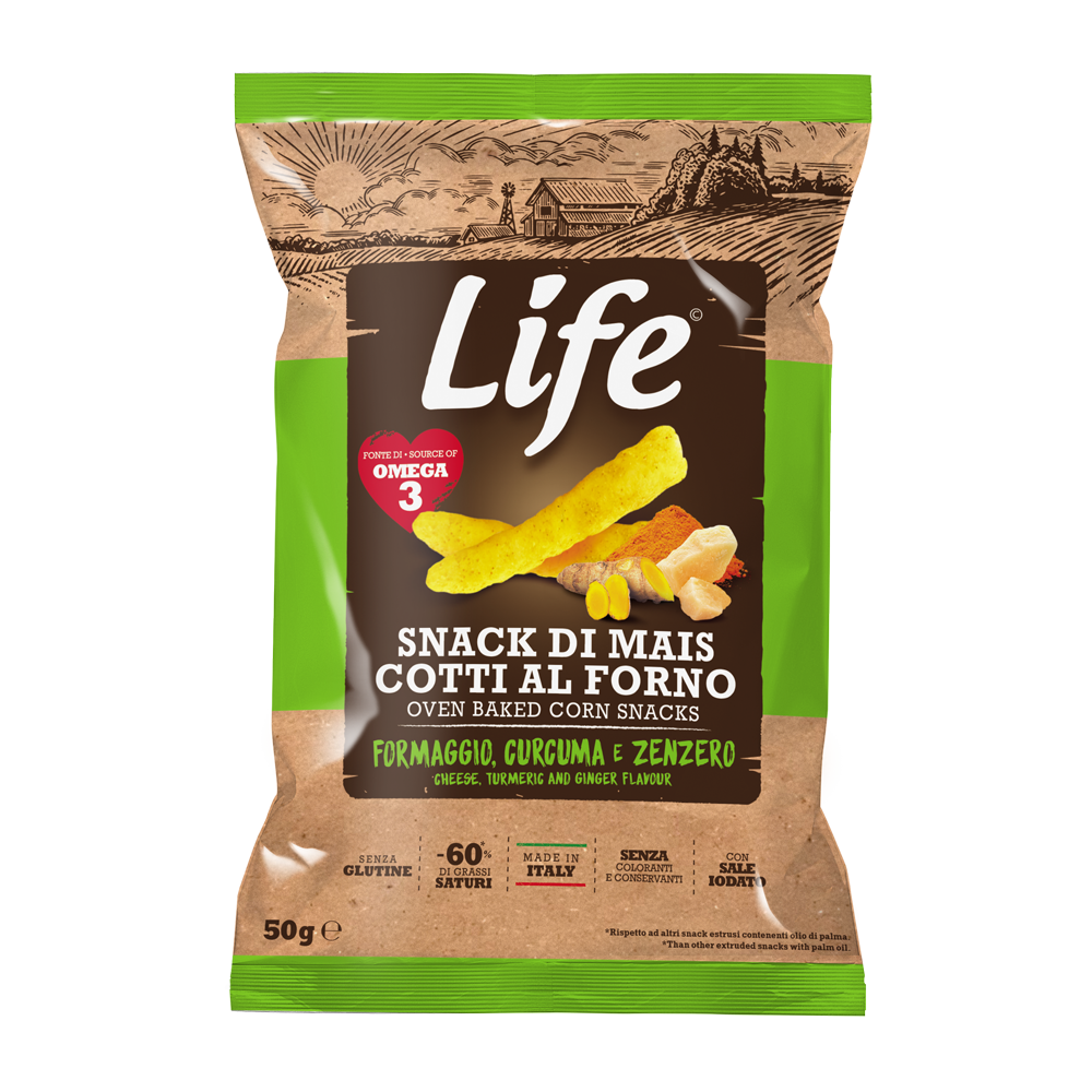 LIFE - cheese, turmeric and ginger corn sticks 50gr