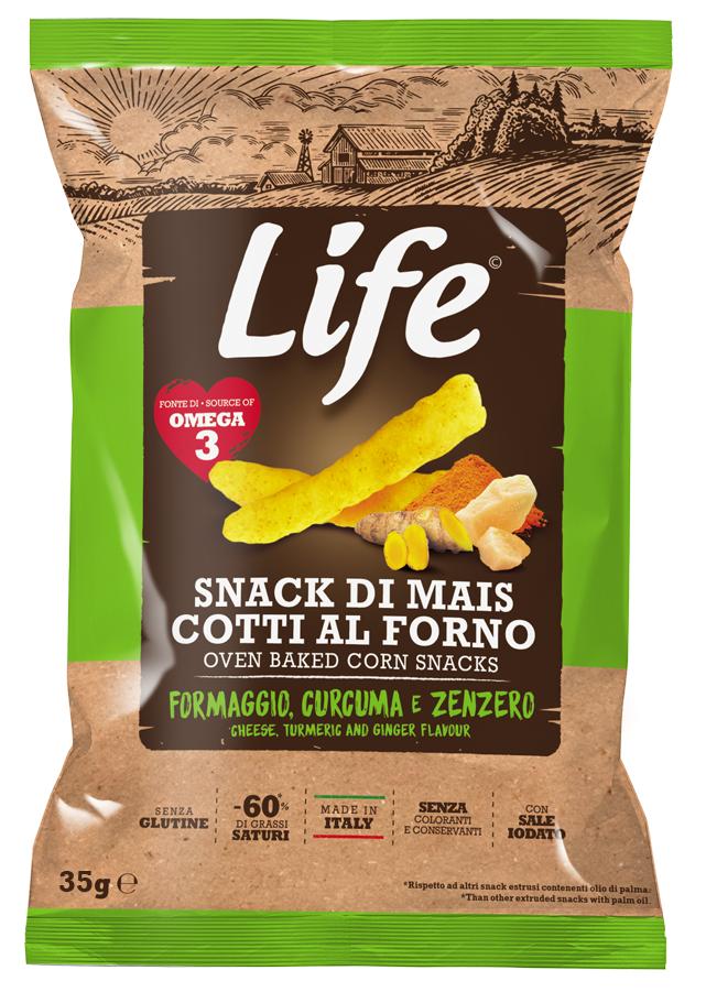Life Bastoncini di mais al gusto formaggio, curcuma e zenzero 35GR