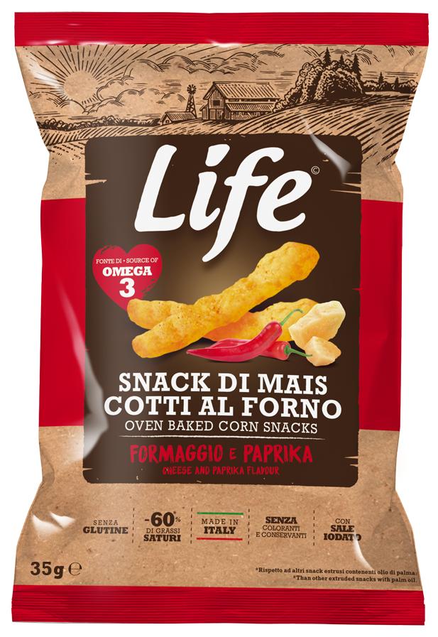 Life Bastoncini di mais al gusto formaggio e paprika 35gr