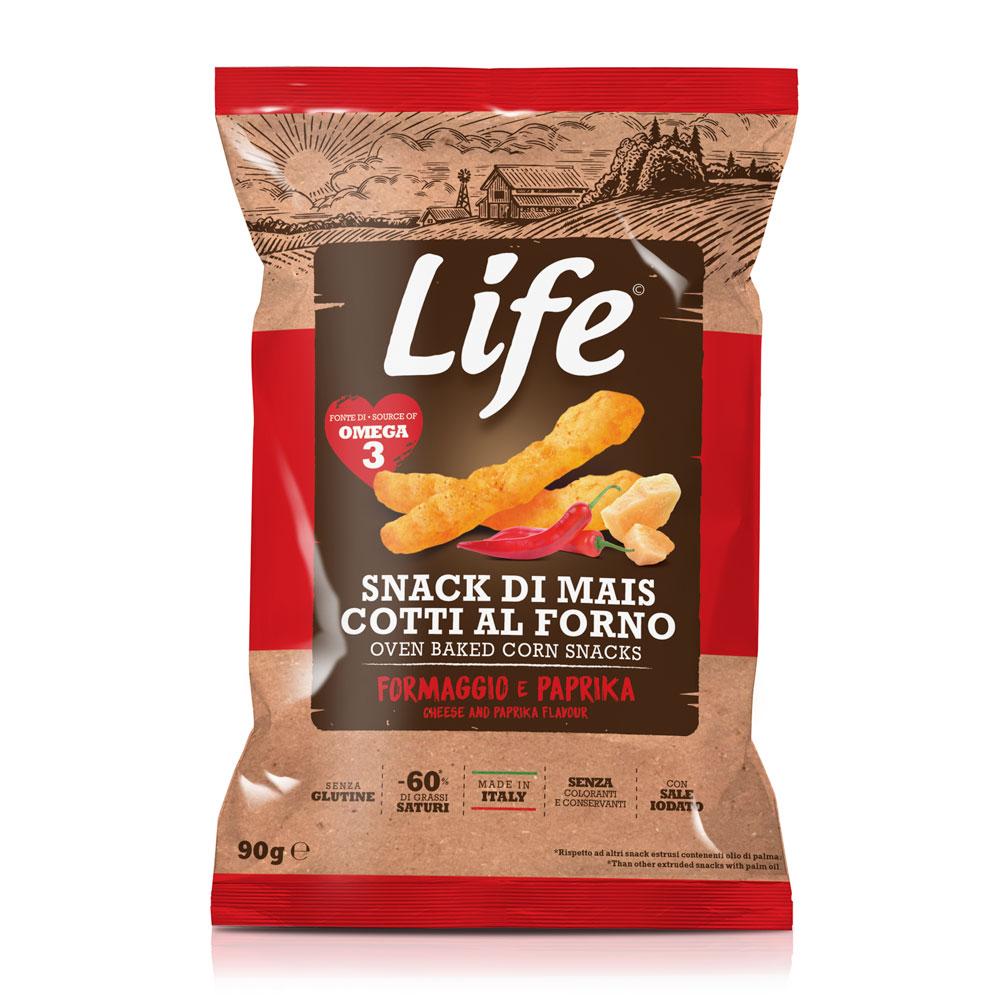 Life Bastoncini di mais al gusto formaggio e paprika 90gr